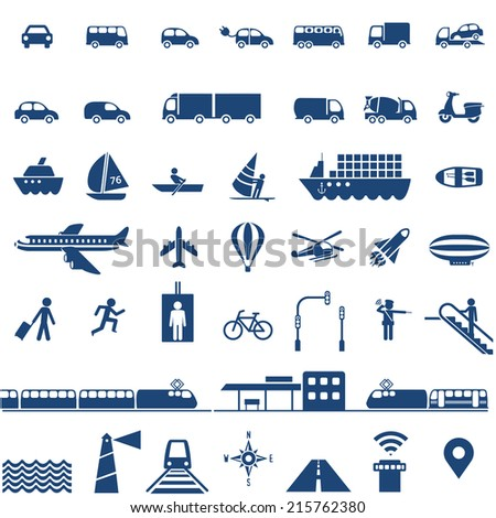 Transportation icons set - cars, ships, planes, trains and other vehicles vector collection - stock vector