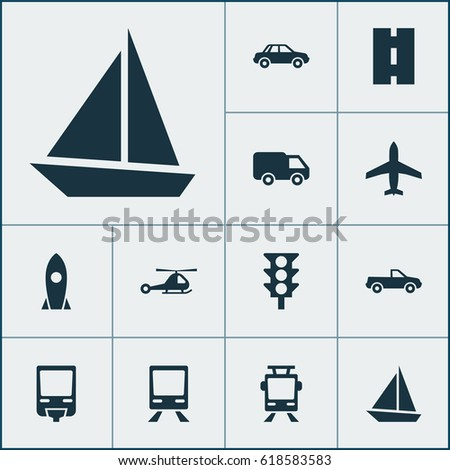 Transportation Icons Set. Collection Of Railway, Truck, Railroad And Other Elements. Also Includes Symbols Such As Chopper, Railway, Road.