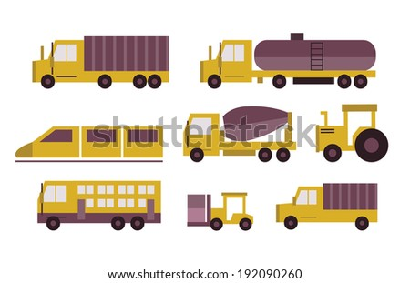 Transportation icons set. flat  design elements. vector - stock vector