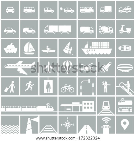 Transportation icons set - rail, water, road, air transport symbols & design elements - stock vector
