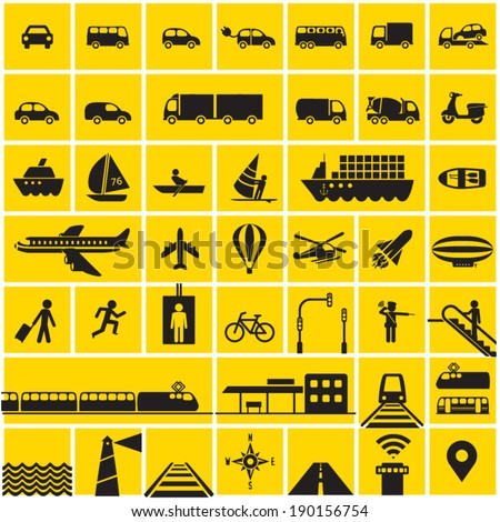 Transportation icons set - road, rail, water, air transport symbols & design elements. High contrast - Black on Yellow - stock vector