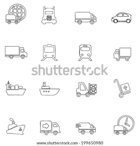 Transportation icons thin line drawing by hand Set 1 - stock vector