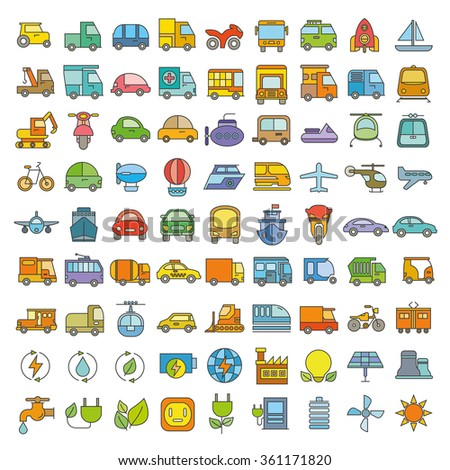 transportation icons, vehicle icons, color theme - stock vector