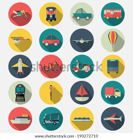 Transportation icons with long shadow effect in stylish - stock vector