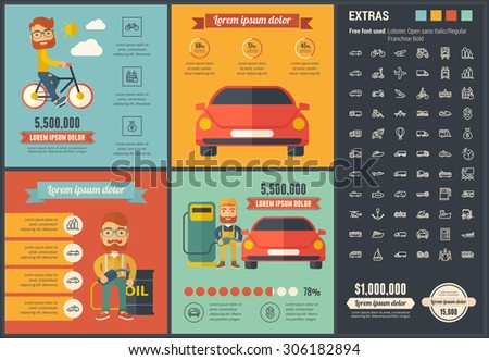 Transportation infographic template and elements. Infographic  template includes illustrations of hipster men and huge awesome set of thin line icons. Modern minimal flat vector infographic design - stock vector