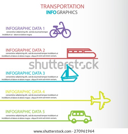 transportation infographics element. can be used for workflow layout, diagram, number options, step up options, web design, banner template. Vector illustration - stock vector