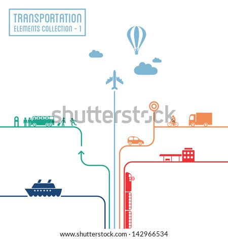 Transportation infographics - graphic elements collection 1, all means of transport - stock vector