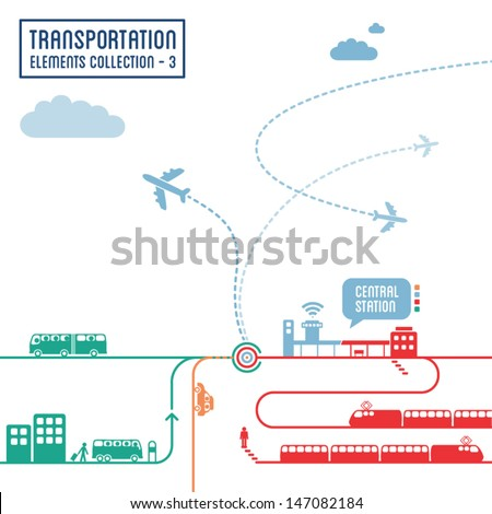 Transportation infographics - graphic elements set 3 - stock vector