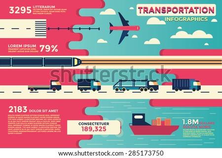 Transportation Infographics,vector,illustration. - stock vector