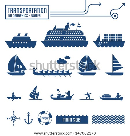 Transportation infographics - water / sea / marine graphic elements set - stock vector