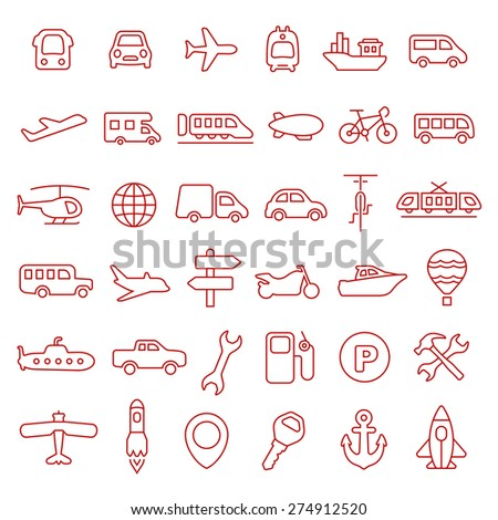 Transportation line icon set - stock vector
