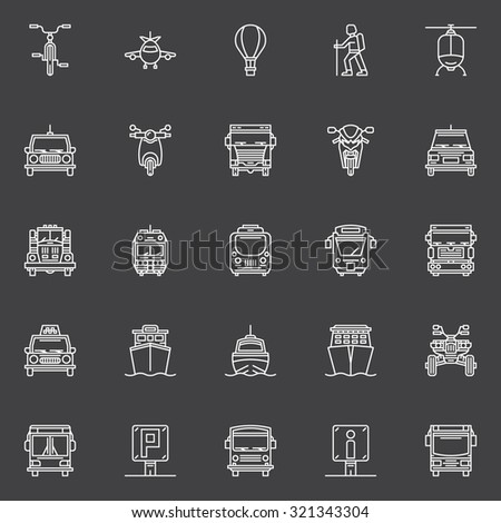 Transportation line icons - vector set of transport signs or logo elements on dark background - stock vector