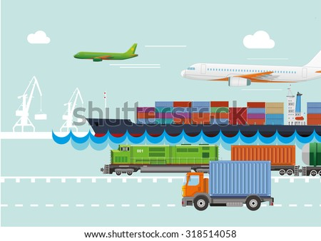 Transportation logistic and delivering. Flat vector concept. - stock vector