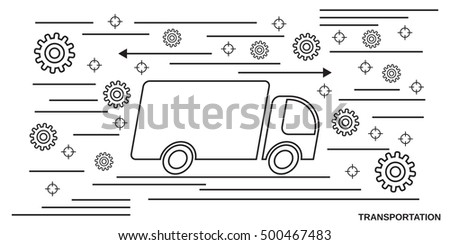 Transportation, logistics, delivery thin line art style vector web banner template