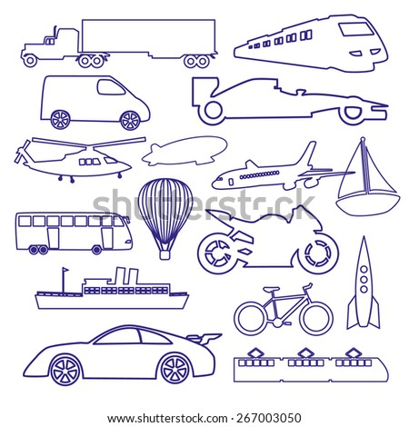 transportation outline blue simple icons set eps10 - stock vector