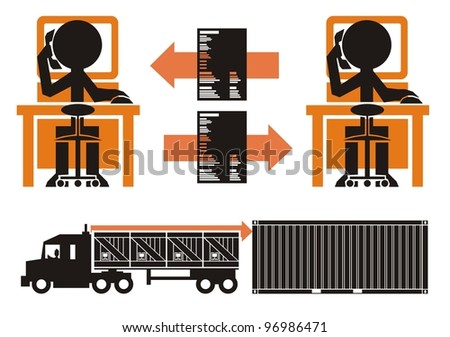 Transportation paperwork process, part 2 - cargo in crates being loaded from truck into a shipping container - stock vector
