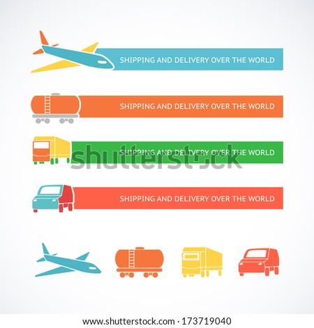 Transportation ribbons set. Vector illustration.