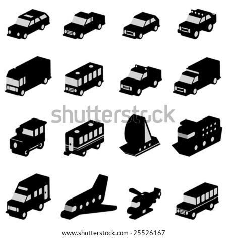 transportation set - stock vector