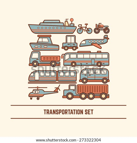 transportation set various type of vehicle car bus train truck van boat ship helicopter airplane - stock vector