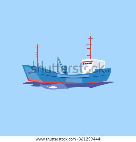 Transportation Ship on the Water. Flat Vector Illustration - stock vector