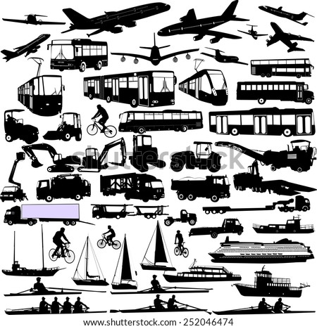 transportation silhouettes collection 3 - vector - stock vector
