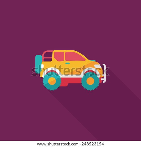 Transportation Sports Utility Vehicle flat icon with long shadow,eps10 - stock vector
