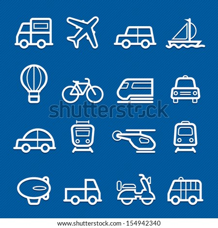 transportation symbol line icon on blue background vector illustration - stock vector