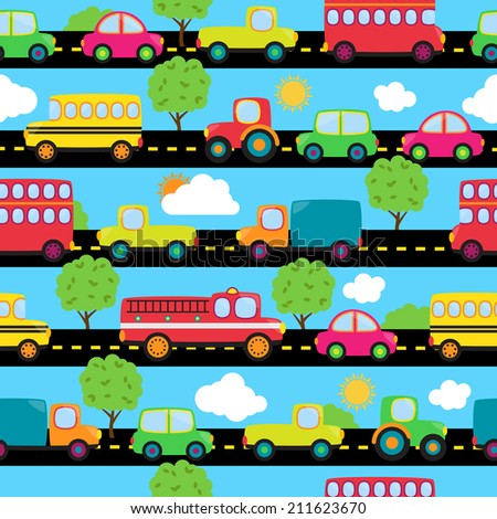 Transportation Themed Seamless Tileable Background Pattern - stock vector