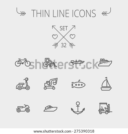 Transportation thin line icon set for web and mobile. Set includes- golf cart, trucks, motor, boat, submarine, anchor icons. Modern minimalistic flat design. Vector dark grey icon on light grey - stock vector