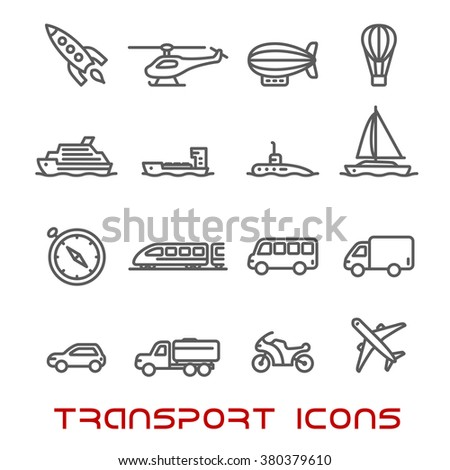 Transportation thin line icons set with car, bus and train, truck and ship, airplane and motorcycle, yacht and compass, tractor and helicopter, rocket and submarine, hot air balloon and airship  - stock vector