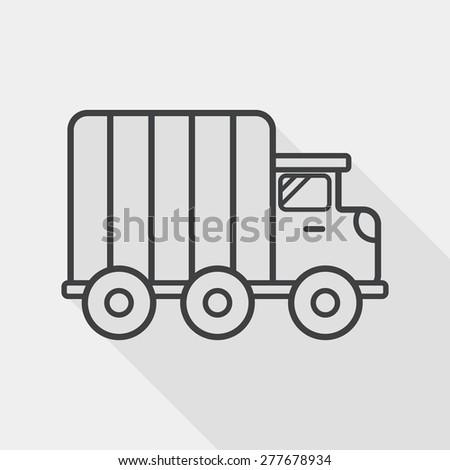 Transportation truck flat icon with long shadow, line icon