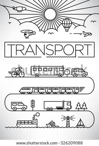 Transportation Vehicles Linear Vector Design Set - stock vector