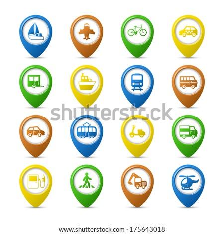 Transportation vehicles navigation pins set of car truck bus pedestrian isolated vector illustration - stock vector
