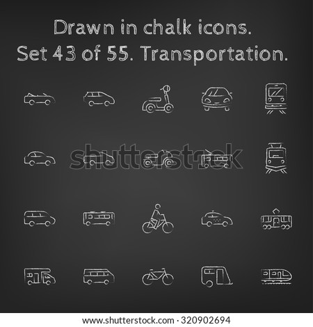 Transpotration icon set hand drawn in chalk on a blackboard vector white icons on a black background. - stock vector