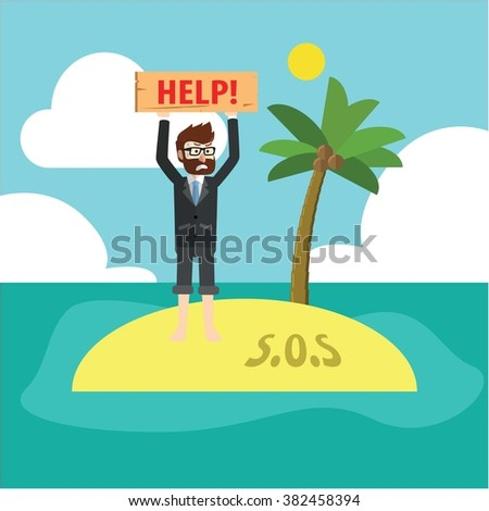Trapped in island - stock vector