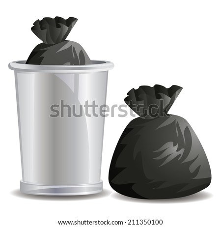 Trash bags inside garbage bins - stock vector