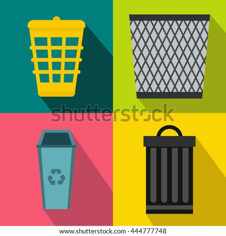 Trash bin garbage banners set in flat style for any design