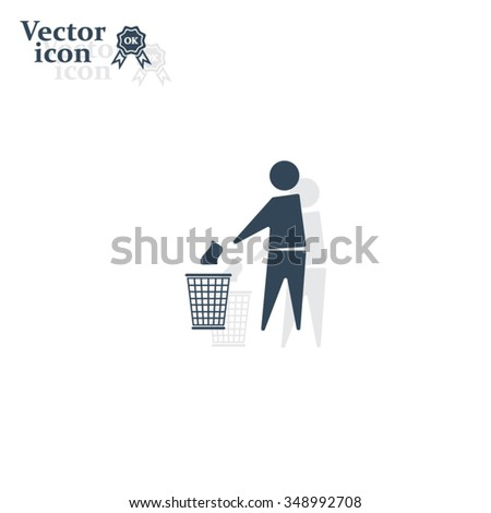 Trash bin or trash can with human figure symbol in vector with shadow - stock vector