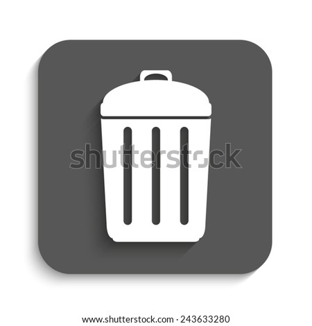 Trash bin - vector icon with shadow on a grey button