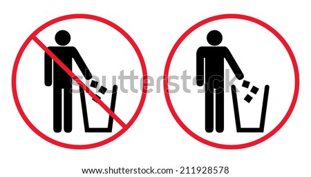 Trash bin with human figure symbol. Garbage red sign icon. Circle Prohibited Sign For No Littering, Please Use A Trash Can or Keep Area Clean Concept Present Recycle bin, vector, isolated on white - stock vector