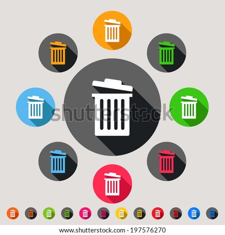 Trash bins - colorful vector icon set - stock vector