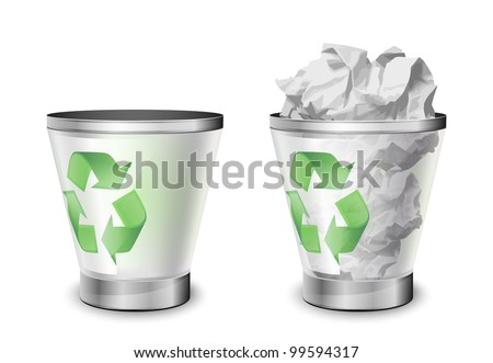 Trash bins, full and empty. Vector illustration