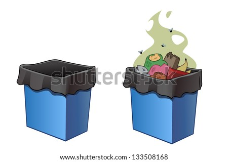 Trash bins, full and empty. Vector illustration, isolated on the white - stock vector