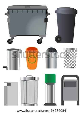 Trash can and container set - stock vector