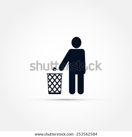 Trash can icon - stock vector