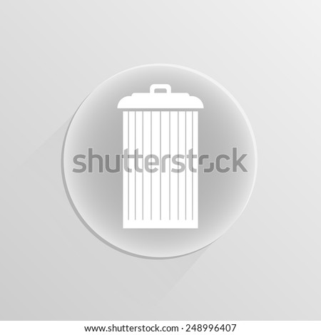 Trash can icon, vector  illustration on a white button with shadow