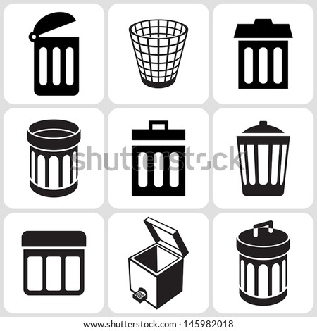 trash can icons set - stock vector
