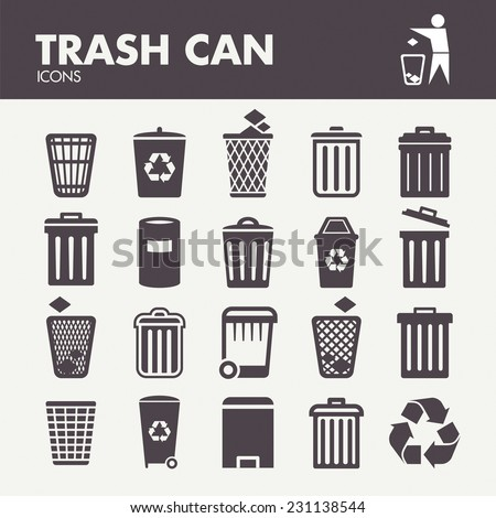 Trash can. Icons set in vector - stock vector