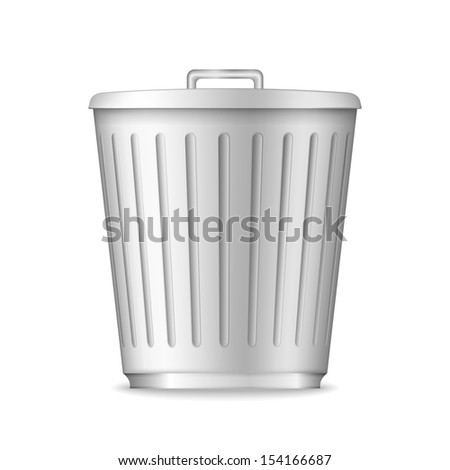 Trash can on white background, vector eps10 illustration