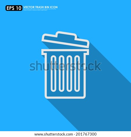 Trash can outline on blue background - can be used as delete icon - stock vector